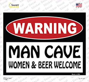 Man Cave Women And Beer Welcome Wholesale Novelty Rectangle Sticker Decal