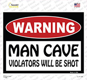 Man Cave Violators Will Be Shot Wholesale Novelty Rectangle Sticker Decal