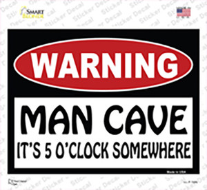 Man Cave Its 5 OClock Somewhere Wholesale Novelty Rectangle Sticker Decal