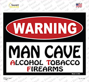 Man Cave Alcohol Tobacco Firearms Wholesale Novelty Rectangle Sticker Decal