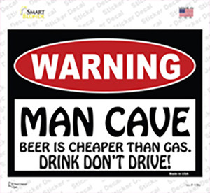 Man Cave Beer Cheaper Than Gas Wholesale Novelty Rectangle Sticker Decal