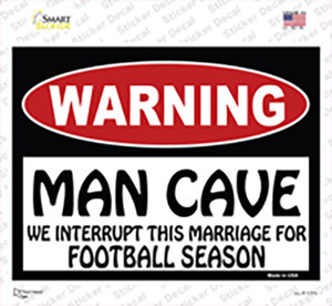Man Cave We Interrupt This Marriage Wholesale Novelty Rectangle Sticker Decal
