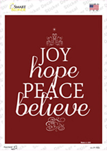 Believe Red Holiday Wholesale Novelty Rectangle Sticker Decal