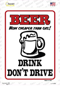 Beer Cheaper Than Gas Wholesale Novelty Rectangle Sticker Decal