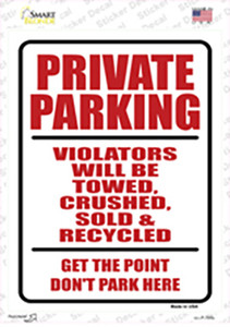 Private Parking Wholesale Novelty Rectangle Sticker Decal