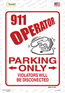 911 Operator Parking Wholesale Novelty Rectangle Sticker Decal