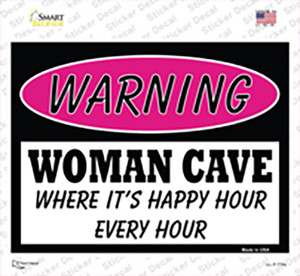 Woman Cave Its Happy Hour Wholesale Novelty Rectangle Sticker Decal
