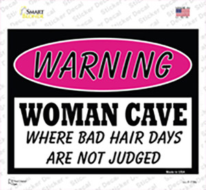 Woman Cave Bad Hair Days Wholesale Novelty Rectangle Sticker Decal