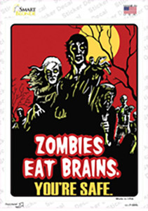 Zombies Eat Brains Wholesale Novelty Rectangle Sticker Decal