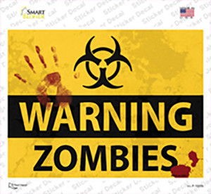 Warning Zombies Wholesale Novelty Rectangle Sticker Decal