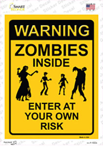 Zombies Inside Yellow Wholesale Novelty Rectangle Sticker Decal