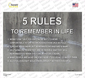 5 Rules In Life Wholesale Novelty Rectangle Sticker Decal