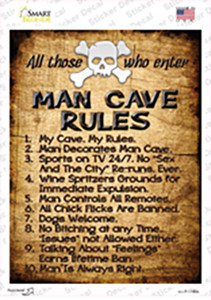 Man Cave Rules Wholesale Novelty Rectangle Sticker Decal