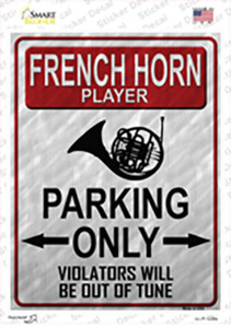 French Horn Player Parking Wholesale Novelty Rectangle Sticker Decal