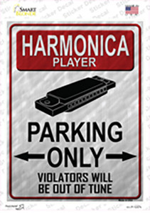 Harmonica Player Parking Wholesale Novelty Rectangle Sticker Decal