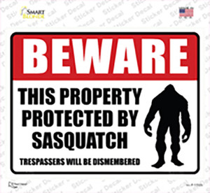 Beware This Property Protected By Sasquatch Wholesale Novelty Rectangle Sticker Decal