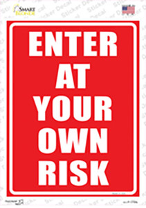 Enter At Your Own Risk Wholesale Novelty Rectangle Sticker Decal