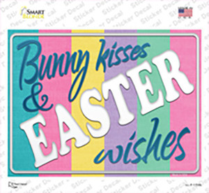 Bunny Kisses and Easter Wishes Wholesale Novelty Rectangle Sticker Decal