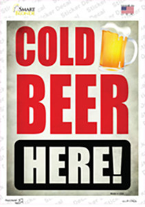 Cold Beer Here Wholesale Novelty Rectangle Sticker Decal