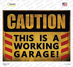 Caution Working Garage Wholesale Novelty Rectangle Sticker Decal