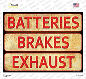 Batteries, Brakes, and Exhaust Wholesale Novelty Rectangle Sticker Decal