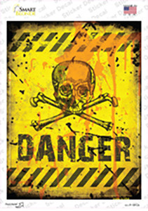 Danger with Skulls Wholesale Novelty Rectangle Sticker Decal