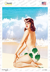 Girl On Beach Vintage Pinup Wholesale Novelty Rectangle Sticker Decal