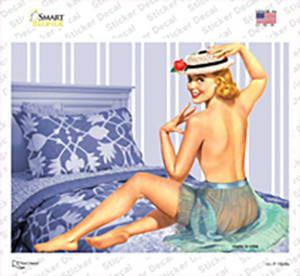 Girl On Bed Vintage Pinup Wholesale Novelty Rectangle Sticker Decal