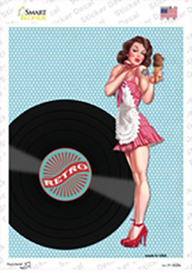 Girl With Vinyl Record Vintage Pinup Wholesale Novelty Rectangle Sticker Decal