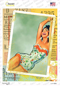 Photo Of Corset Girl Vintage Pinup Wholesale Novelty Rectangle Sticker Decal