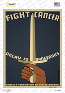 Fight Cancer Vintage Poster Wholesale Novelty Rectangle Sticker Decal