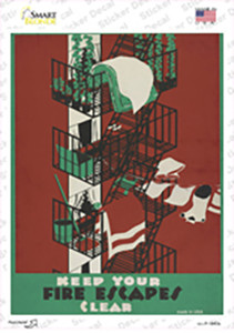 Fire Escapes Clear Vintage Poster Wholesale Novelty Rectangle Sticker Decal