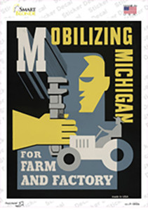 Mobilizing Michigan Vintage Poster Wholesale Novelty Rectangle Sticker Decal