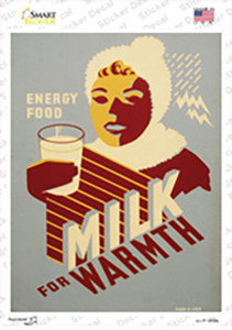 Milk for Warmth Vintage Poster Wholesale Novelty Rectangle Sticker Decal