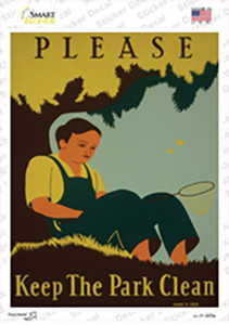 Keep the Parks Clean Vintage Poster Wholesale Novelty Rectangle Sticker Decal