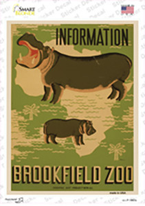 Information Brookfield Zoo Vintage Poster Wholesale Novelty Rectangle Sticker Decal