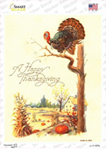 Happy Thanksgiving Vintage Poster Wholesale Novelty Rectangle Sticker Decal