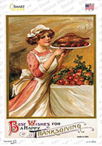 Best Wishes for Thanksgiving Vintage Poster Wholesale Novelty Rectangle Sticker Decal