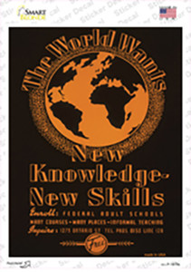 New Knowledge New Skills Vintage Poster Wholesale Novelty Rectangle Sticker Decal