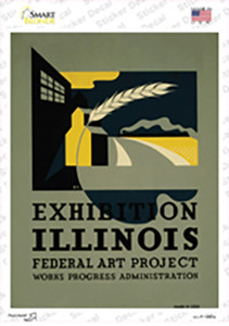 Illinois Art Project Vintage Poster Wholesale Novelty Rectangle Sticker Decal