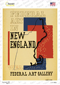 New England Art Gallery Vintage Poster Wholesale Novelty Rectangle Sticker Decal