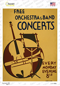 Free Concerts Vintage Poster Wholesale Novelty Rectangle Sticker Decal