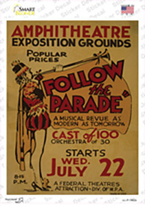 Follow the Parade Vintage Poster Wholesale Novelty Rectangle Sticker Decal