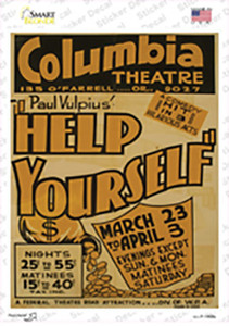 Help Yourself Vintage Poster Wholesale Novelty Rectangle Sticker Decal
