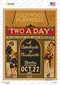 Hollywood Playhouse Vintage Poster Wholesale Novelty Rectangle Sticker Decal