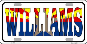 Williams Arizona Flag White Wholesale Metal Novelty License Plate