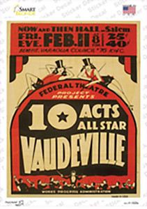10 Allstar Acts Vintage Poster Wholesale Novelty Rectangle Sticker Decal