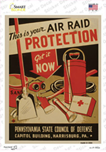 Air Raid Protection Vintage Poster Wholesale Novelty Rectangle Sticker Decal