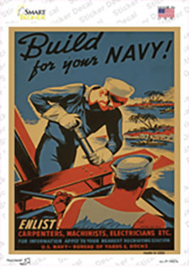 Build Your Navy Vintage Poster Wholesale Novelty Rectangle Sticker Decal