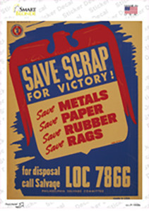 Save Scraps for Victory Vintage Poster Wholesale Novelty Rectangle Sticker Decal